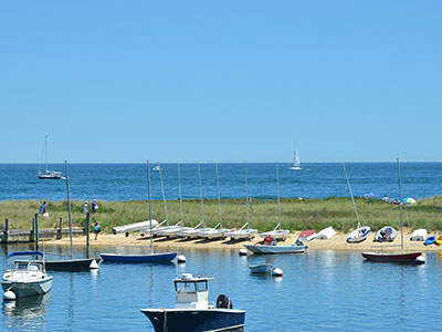 Oak Bluffs Harbor and Nantucket Sound view